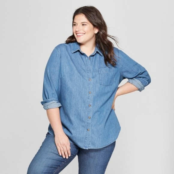 96509a968 Textured Denim No Gap Button-Down Lg Sleeve Shirt. NWT. Ava   Viv